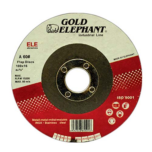 GOLD ELEPHANT Flap Disc Available in:  - #40D 100 x 16mm - #60D  100 x 16mm - #80D  100 x 16mm - #120D 100 x 16mm