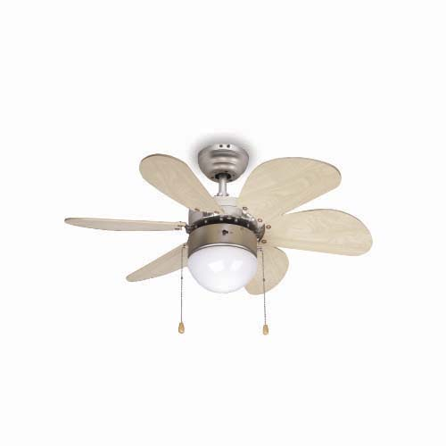 BOSTON BAY Decorative Ceiling Fan • 30 in • 6 pcs. plywood blade • 3 Speed pull chain • Light - 7 in frosted opal glass  - E2 - 60W (Bulb not included) Code: 6UFO30BP Aberdeen
