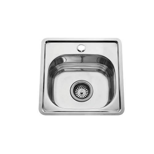BREMEN Sink • With strainer • Stainless steel 202 • 380 x 380mm • 0.6mm thickness • 150mm depth Code: 3838