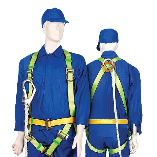SOTER Description: Full Body Harness Static strength: 1530kg Strap material & size: Polyester, 25mm Buckle material: Stamped & Zinc-Plated Steel Dorsal ring material: Forged & Zinc-Plated Steel Code: 114053