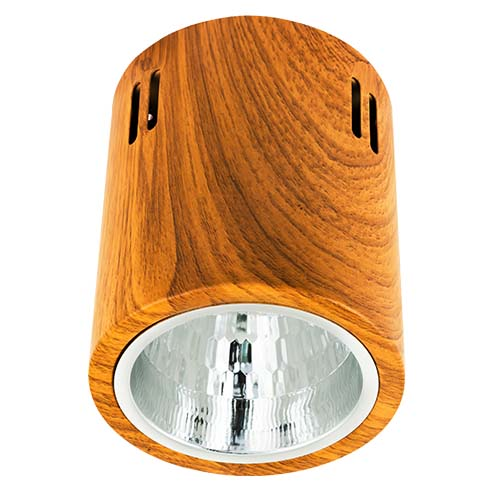 ZIGMA Description: Surfaced Downlight Size: 108mm Socket: E27  Color: Wood Bulb capacity: 1 pc. (not included) Code: XM2832