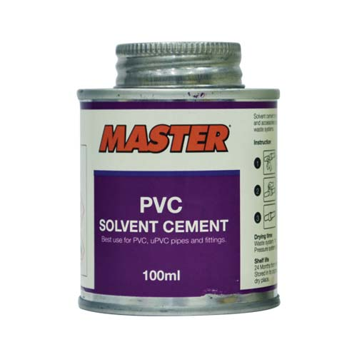 MASTER Description: PVC Solvent Cement Best used for PVC, uPVC, pipes and fittings Content: 100ml, 400ml