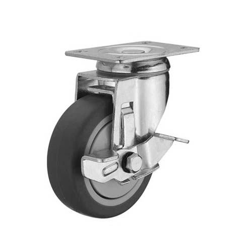 HAUSMANN Description: Swivel Caster  Single ball bearing with brake Sizes: 1.25, 1.5, 2 Material: Thermoplastic Rubber