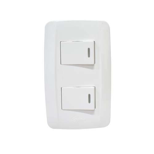 ZIGMA 2-Gang 1-Way Switch • Medium series • Faceplate with fluorescent Code: ZMSS110