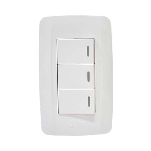 ZIGMA 3-Gang 1-Way Switch  • Medium series • Faceplate with fluorescent Code: ZMSS111