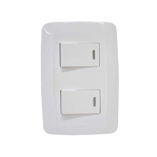 ZIGMA 2-Gang 2-Way Switch • Medium series • Faceplate with fluorescent Code: ZMSS202