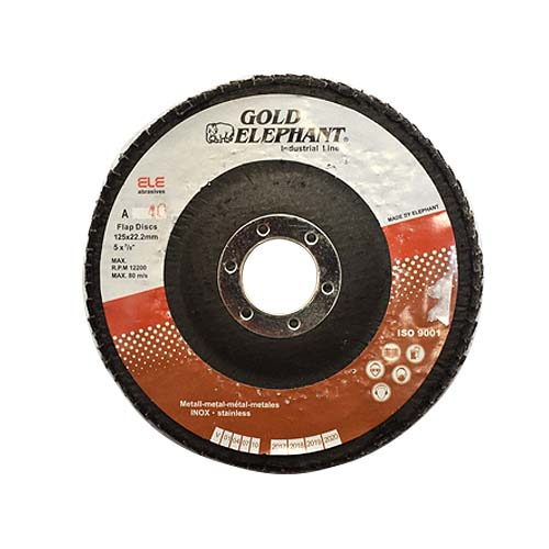 GOLD ELEPHANT Flap Disc • For stainless steel Available in:  - #40D 125 x 22.2mm - #60D 125 x 22.2mm - #80D 125 x 22.2mm - #120D 125 x 22.2mm