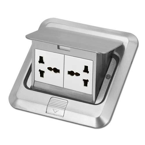 ZIGMA Floor Socket  •Medium series • With 2G universal socket • Square  • Silver Code: ZMFOS-SQ