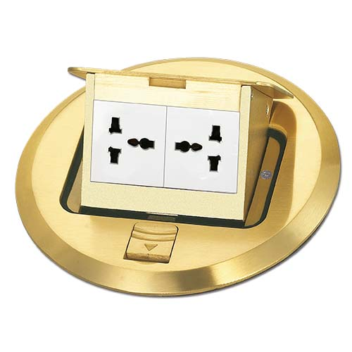 ZIGMA Floor Socket  • Medium series • With 2G universal socket  • Round  • Gold Code: ZMFOG-RD