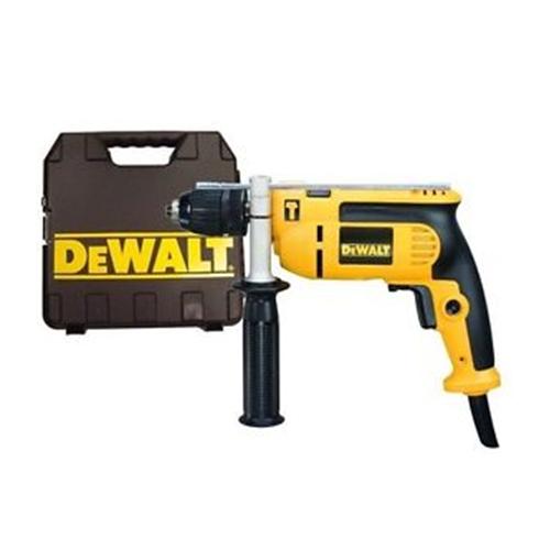 DEWALT Drill Kit Box • 550W No load speed: 0-2800rpm Chuck capacity: 1 mm Blows per minute: 0-47600 Max drilling capacity for wood: 25 mm Max drilling capacity for steel: 10 mm Max drilling capacity for masonry: 13 mm Code: DWD024K