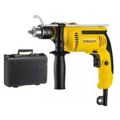STANLEY Description: Impact Drill Power: 550W No load speed: 0-2900rpm Chuck size: 1.5-13mm Chuck type: Keyed & keyless Impact rate: 0-49300bpm Max drill capacity for wood: 25mm Max drill capacity for metal: 13mm Max drill capacity for concrete: 13mm