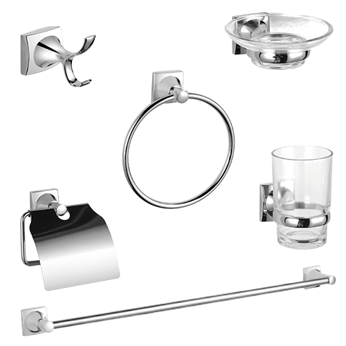 LA FONZA Bathset • Pienza collection • Includes: - Single robe hook - Soap dish - Towel ring - Tumbler holder with glas - Paper holder - Single towel bar Code: 1200 Sold by set  1200 Bathset  PIENZA
