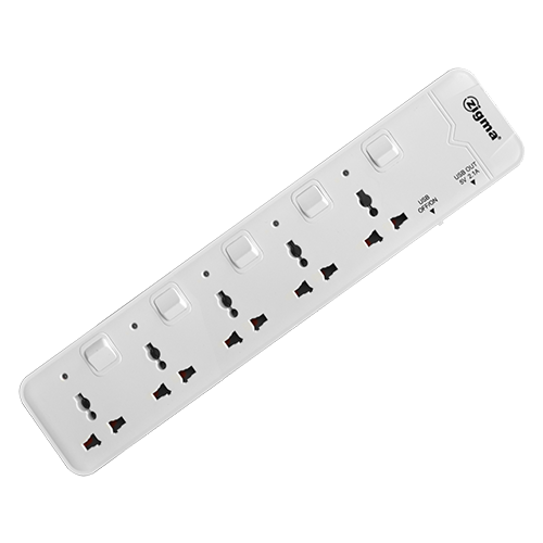 ZIGMA Extension Cord • 2 m cord length • 3 pin • 5-Way power socket outlet • Individual power switch • 2.1A USB output for each socket • Safety shutter ensures protection for electricity contacts • Slope design for easy on/off switches  • Switches using double silver copper contact Code: MTS-G251U