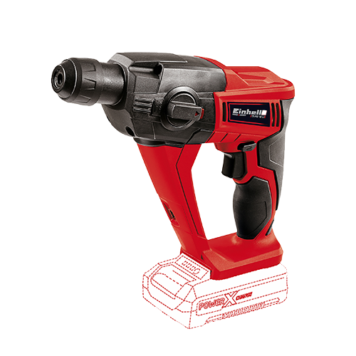 EINHELL Cordless Rotary Hammer (Solo)  -without battery pack • Pneumatic hammer action for easy drilling in concrete • Universal SDS-plus-bit mounting with auto-slip-in function • Powerful motor and metal gearing for high torque Code: 4513812