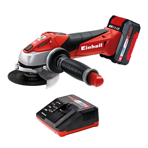 EINHELL Cordless Angle Grinder • Power X-Change system battery • Lightest angle grinder of its class • Softstart function and restart safeguard to make it safer to use • Modified air guidance for better cooling and longer service life Code: 4431119