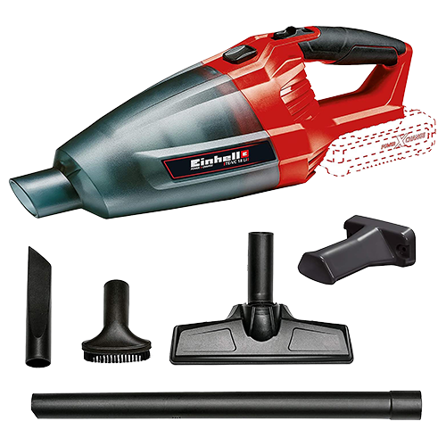 EINHELL Vacuum Cleaner (solo) • Member of the Power X-Change family  - without Battery Pack • 540 ml dust container • Floor tool for hard floors and smooth surfaces • Crevice tool for hard to reach areas • Upholstery tool for cleaning upholstery and fabrics Code: 2347120