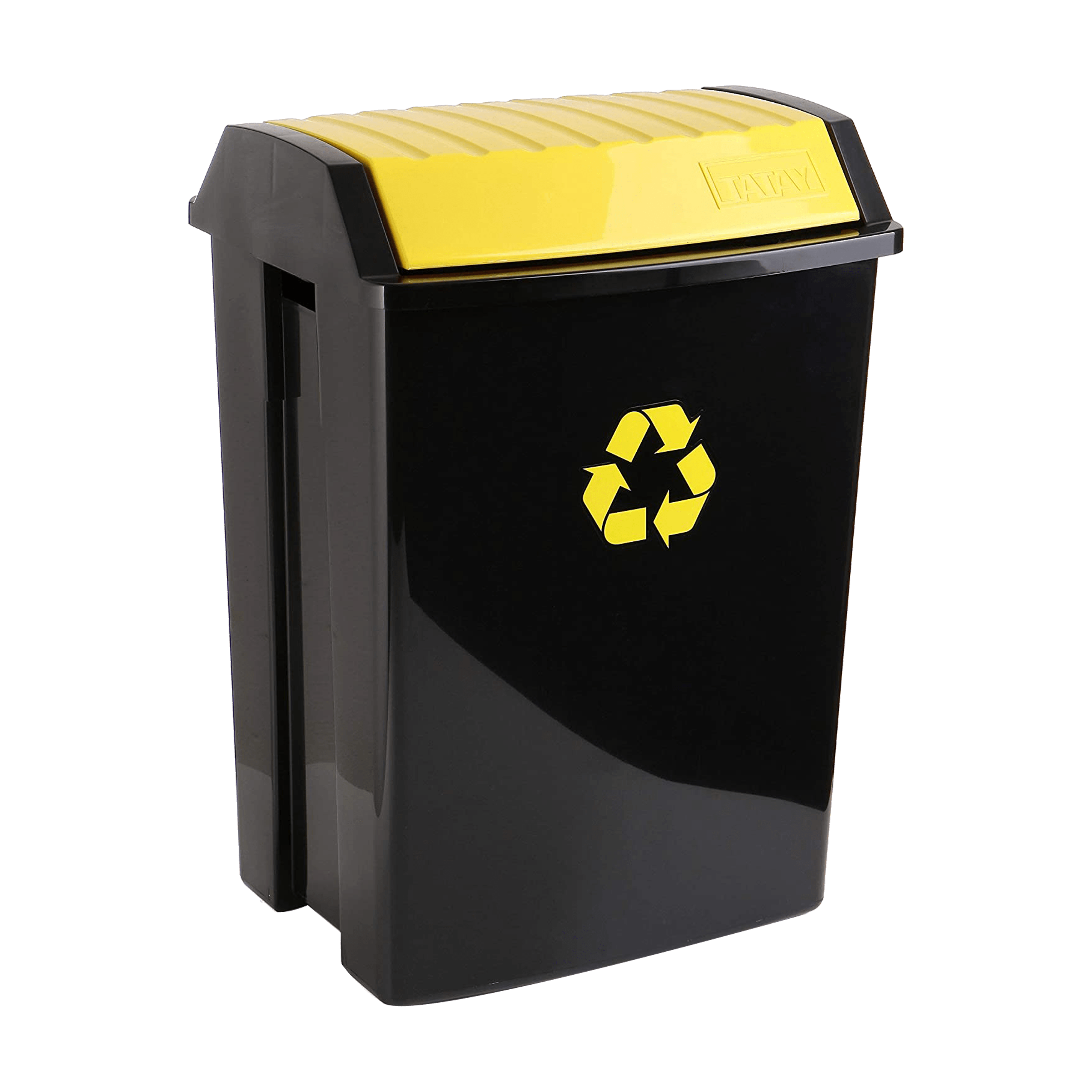 TATAY Trash Bin • Yellow • 40.4cm X 33.5cm X57cm • 50 liter capacity • Anti-UVA for a longer durability • Suitable for both indoors and outdoors Code: 1102302