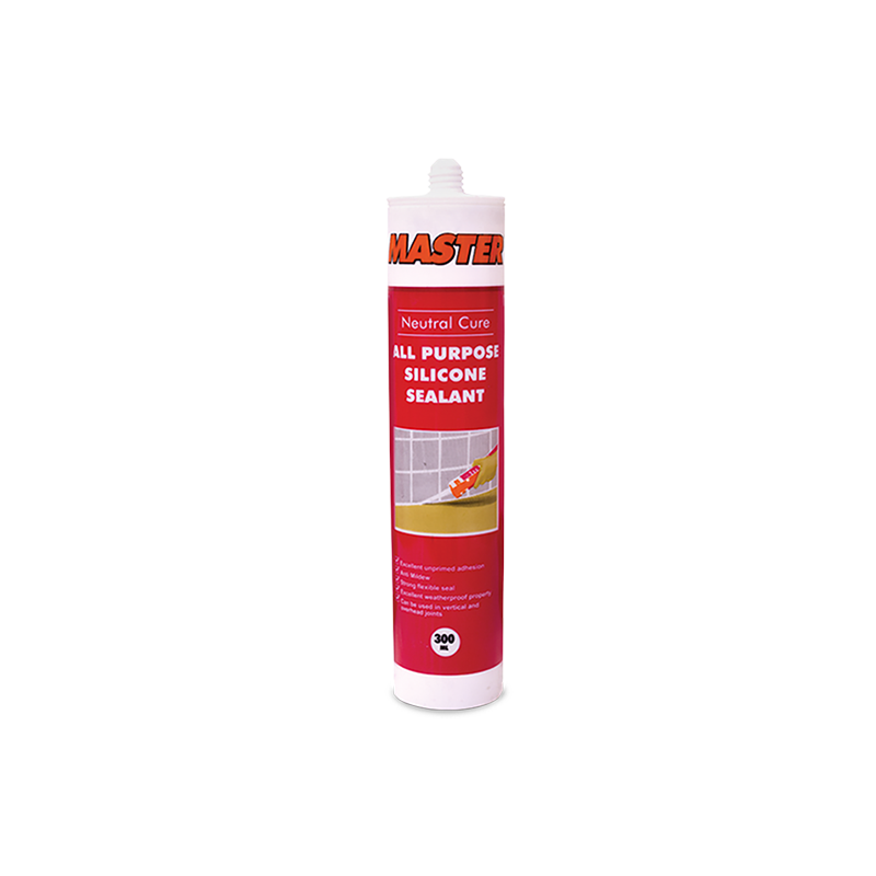 MASTER Silicone Tube Sealant • Excellent unprimed adhesion • Neutral Clear color • Anti-mildew • Strong flexible seal • Excellent weatherproof property • Can be used in vertical and overhead joints • Ideal for: - Wood - Ceramic - Plastic - Vinyl Code: N33