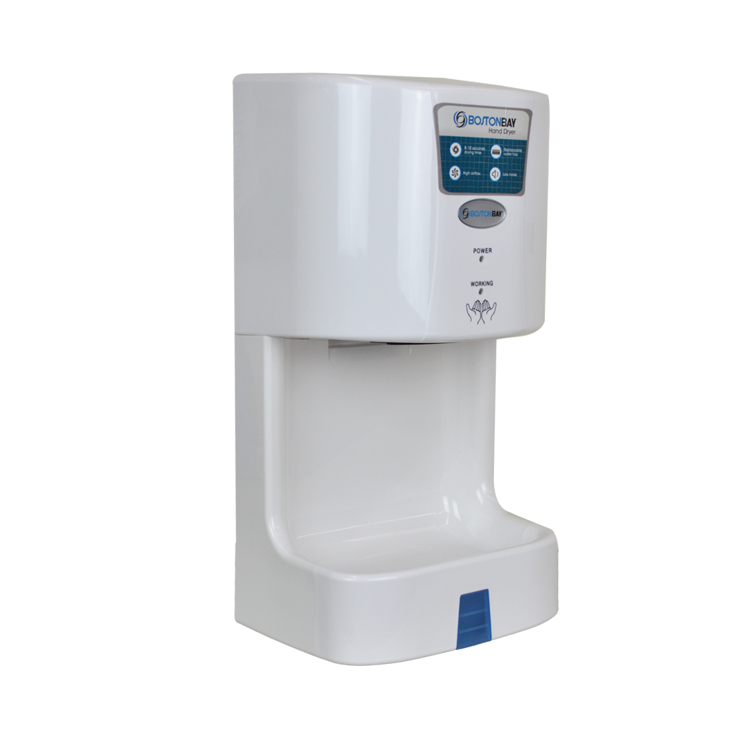 BOSTON BAY White ABS Hand Dryer • Automatic ON/OFF (60 Seconds Auto Shut off ) • Dual Safe Protection Heater • Fireproof Parts • Low noise, high airflow Code: HDBK719-1051