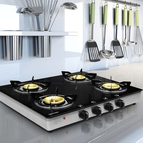 <strong>BOSTON BAY</strong> <br /><br />Description: 4 Burner Gas Stove Burner <br /><br />Material: Brass Panel <br />Material: Tempered Glass Battery operated ignition switch <br />Code: G401NR
