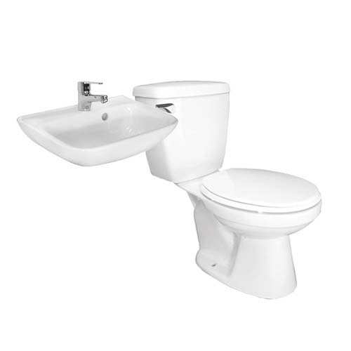 HCG Water Closet • Alesso package • CS996N Single flush water closet • LF61 wall hang wash basin • LF3187PX single-hole basin faucet  • Accessories:  - Soap holder - Paper holder
