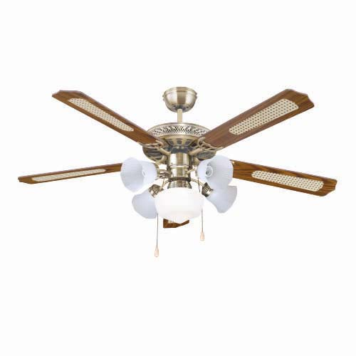 "BOSTON BAY Description: 52"" Ceiling Fan Voltage: a.c. 230V, 60Hz Blade type: Plywood (5 pcs.) Housing finish: Antique Brass Code: M52021-XY-5L"