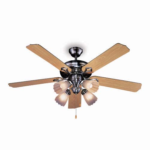 "BOSTON BAY Description: 52"" Ceiling Fan Voltage: a.c. 230V, 60Hz Blade type: MDF (5 pcs.) Housing finish: Nickel Code: M52023"