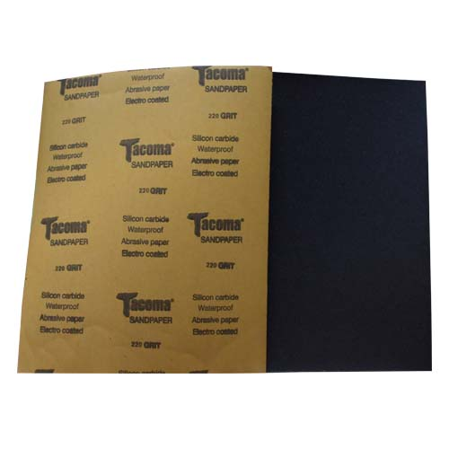 TACOMA Description: Sandpaper  Silicone carbide, waterproof, electro coated Grit Sizes: 80, 100, 120