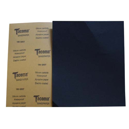 TACOMA Description: Sandpaper  Silicone carbide, waterproof, electro coated Grit Sizes: 150, 180