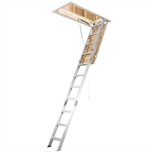 WERNER Attic Ladder •11 step folding • Aluminum •8-10 ft. reach • 70 kg. load capacity Code: AH2210