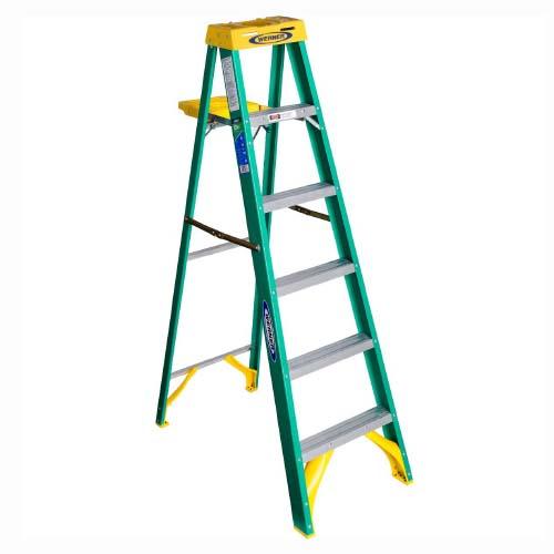 WERNER Step Ladder • 6 step single sides • Fiberglass • 10 ft. reach • 102 kg. load capacity Code: 5906AS