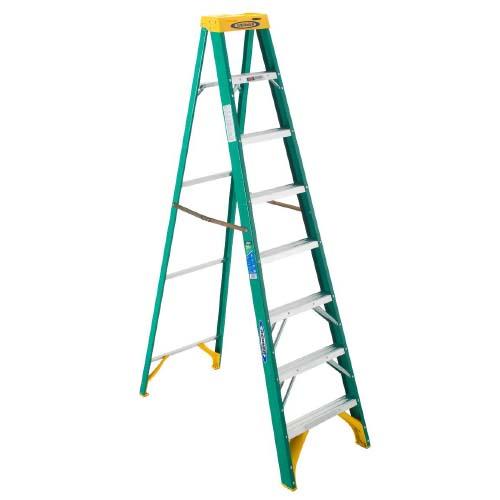 WERNER Step Ladder • 8 step single sided • Fiberglass •12 ft. reach • 102 kg. load capacity Code: 5908AS