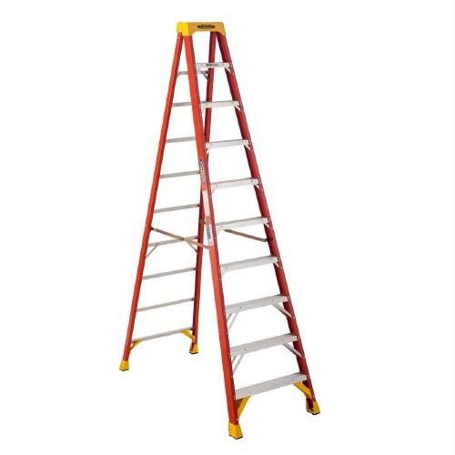 WERNER Step Ladder • 10 step single sided • Fiberglass • 14 ft. reach • 136 kg. load capacity Code: 6210AS