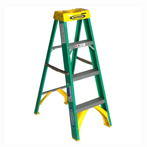 WERNER Step Ladder • 4 step single sided • Fiberglass • 8 ft. reach • 102 kg. load capacity Code: 5904AS