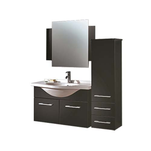 RAVONI Cabinet with Lavatory Mirror • Rumba • Black •Sizes: - Cabinet: 824 x 345 x 560 mm - Lavatory: 900 x 500 mm - Mirror: 800 x 700 mm - Tall hang cabinet: 330 x 325 x 1200 mm Items also sold separately