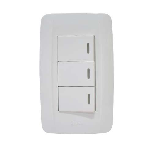 ZIGMA 3-Gang 2-Way Switch  •Medium series • Faceplate with fluorescent Code: ZMSS203