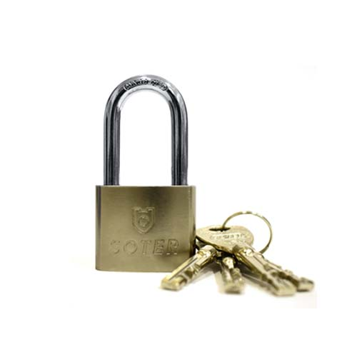 SOTER Padlock  • 4 keys included • Nickel plated iron lock body  • Brass disc Available in: - 40mm - 50mm - 60mm