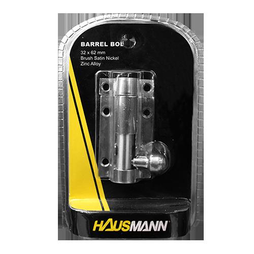 HAUSMANN Barrel Bolt • Zinc alloy • Brush satin nickel finish Available in:  - 1.5 in. - 2 in.  - 2.5 in. - 3 in. - 4 in.
