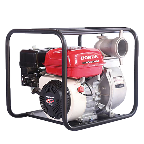 """HONDA Water Pump • 5.5 Hp • 3 x 3"""" inlet/Outlet port diameter • 23m total head left • Over head valve engine type • 1100 L/min max discharge capacity • 1.4L/H fuel consumption • 3.1L fuel tank capacity • 0.58L oil capacity • 24kg dry weight Code: WL30XH DR"""