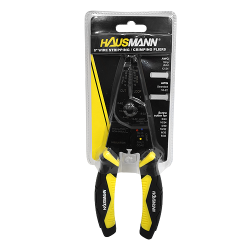 """HAUSMANN Wire Stripping and Crimping Pliers • 8"""" • Drop forged • Heat treated steel • Baked black enamel finish for durability • AWG 12-24 strips wires • AWG 10-22 cuts wires • Screw cutter for: - 5/40 - 10/24 - 4/40 - 10/32 - 8/32 - 6/32 Code: YJTS-2955"""