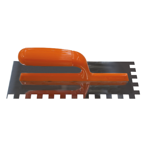 MASTER Notched Trowel Blade material: Stainless Steel Teeth sizes:  - 6 mm - 8 mm - 10 mm - 12 mm