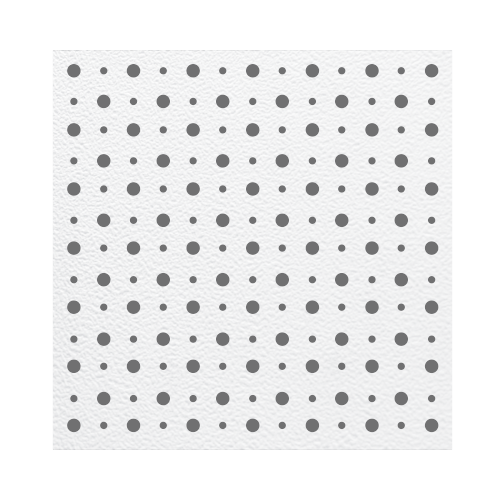 Perforated Acoustical Gypsum Board • With big & small hole • Best used with Aatomo runners Size: 8.5 x 603 x 603 mm Code: RS001