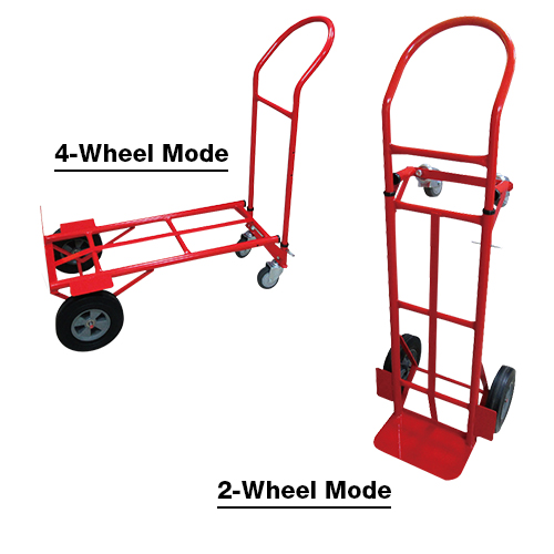 """HAUL EXPERT 2in1 Steel Hand Truck • 355 x 190mm nose plate • Wheel 10"""" solid tire + 4"""" TPR casters • Overall size: - 2 wheels 493 x 439 x 1295 - 1379mm - 4 wheels 439 x 1143 x 1125mm • Loading capacity:  - 2 wheels 270kg - 4 wheels 360kg Code: CT-HT6002N"""