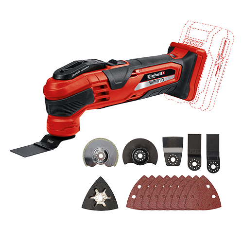 """EINHELL Cordless """"Varrito"""" Multi-functional Tool (Solo) • Member of the Power X-Change family   - Without Battery Pack • Quick release for toolless change of equipment • Speed electronics for material and application suitable working • Oscillation decoupled battery uptake for reduction of vibration Code: 4465160"""