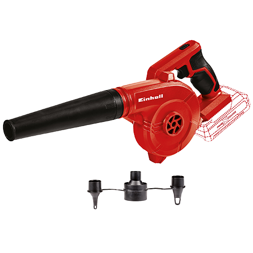 EINHELL Cordless Air Blower • Member of the Power X-Change family  - without Battery Pack • 2-step speed adjustment • Airflow up to 180 kph  - Including 3 inflation adapters for many different applications Code: 3408001