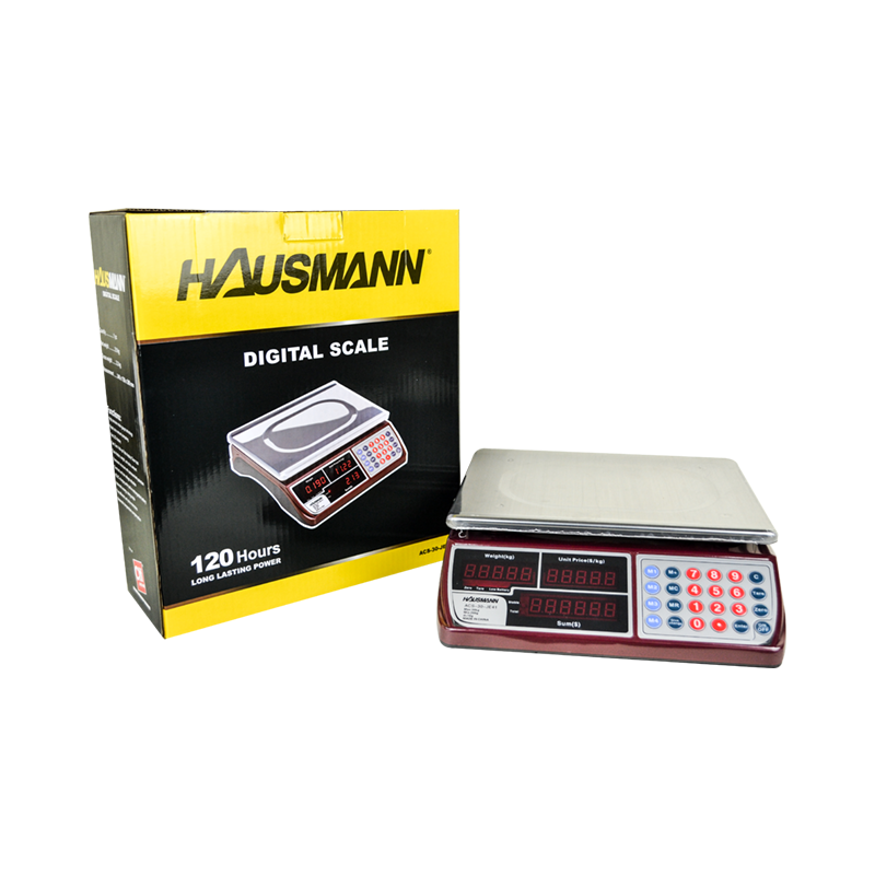 HAUSMANN DIGITAL SCALE TABLE TOP • 120 HOURS LONG LASTING POWER • HIGH PRECISION STRAIN GAUGE TECHNOLOGY • RAPID PRICE AMOUNT COMPUTING • RED LED DISPLAY, DUAL DISPLAY: WEIGHT, UNIT PRICE AND AMOUNT • AUTOMATIC ENERGY SAVING MODE • FRAMEWORK STRUCTURE WITH PRESSURE LIMIT-PROTECTION, AUTOMATIC TEMPERATURE COMPENSATION